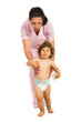 Nurse helping toddler to walk