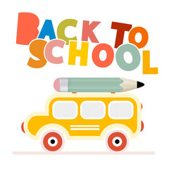 Yellow School Bus - Back to School Vector Illustration