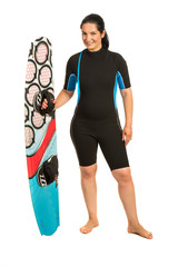 Kitesurfer woman in neoprene suit