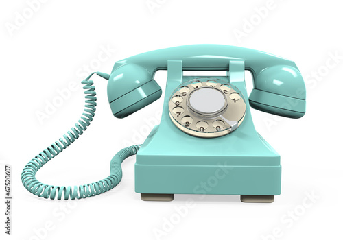 canvas print picture Vintage Telephone Isolated