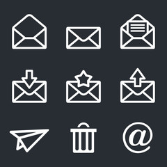 Mail icons set: Envelope, plane, shopping and other
