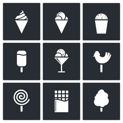 Sweets and ice cream icon set