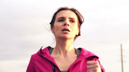 Woman jogging in the city, super slow motion, shot at 240fps