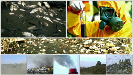 Environmental pollution in various forms-split screen