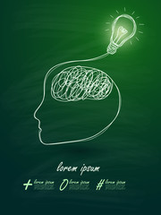 Idea concept light bulb forming human head on blackboard backgro