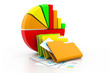 Economical business graph and folder documents