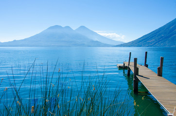 Relaxing on Jetty at lake Atitlan in Guatemala