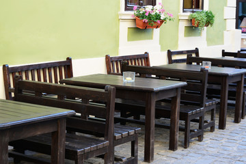 Outdoor street cafe tables and benches