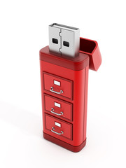 Drawers on usb storage device