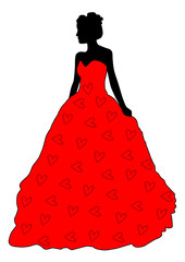 Silhouette of a bride in red