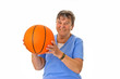canvas print picture - Seniorin spielt Basketball
