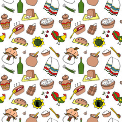 Ukraine food hand drawn cartoon seamless