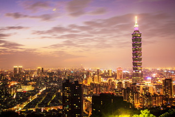 Taipei's City Skyline at sunset with the famous Taipei 101
