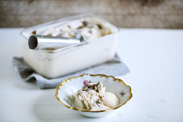 Salty caramel ice cream shaved black truffle, homemade delicacy