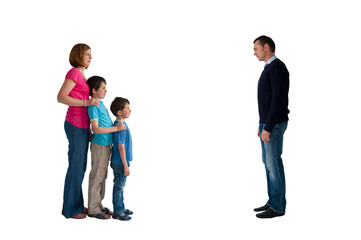 divorce concept family separation isolated on a white background