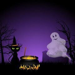 Halloween ghost and black cat with cauldronai