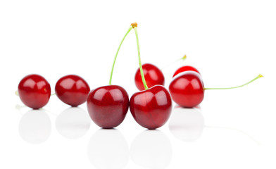 Sweet cherry, on white background