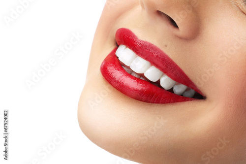 Plakát, Obraz red lipstick and white teeth