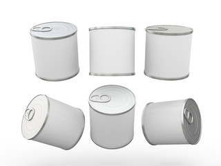 White blank food  tin can  with pull tab, clipping path included