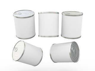 White  blank label food can with pull tab, clipping path include