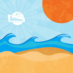 Summer beach retro vector