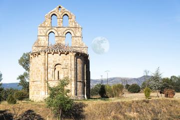 Romanesque chapel and moon