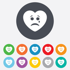 Sad heart face with tear icon. Crying symbol.