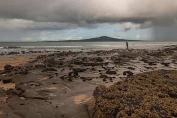 Takapuna beach at stormy weather