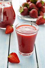 Strawberry smoothie. Close up.