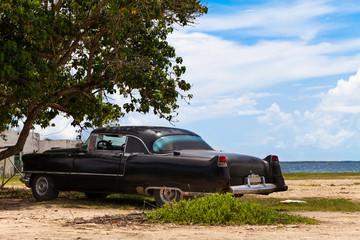 Kuba Oldtimer parkend am Strand