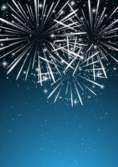 Starry fireworks on blue background
