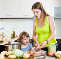 mother with  daughter cooking together