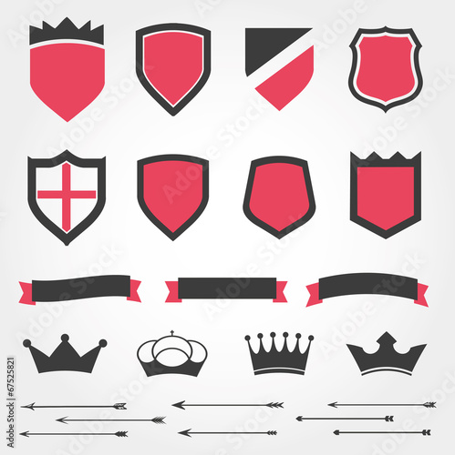 Set vector shields heraldic crowns ribbons arrows