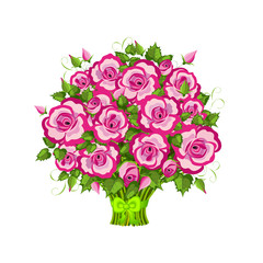 Pink roses bouquet isolated on white.