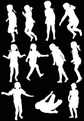 eleven child silhouettes collection isolated on black