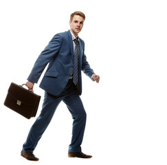 running businessman with briefcase