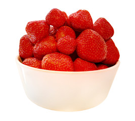 Strawberries in a bowl - isolated on white background