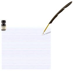 plume d'écriture et encre noire sur papier bloc-notes