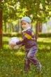 Boy playing with soccer ball at park