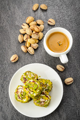 pistachio turkish delight dessert and coffee