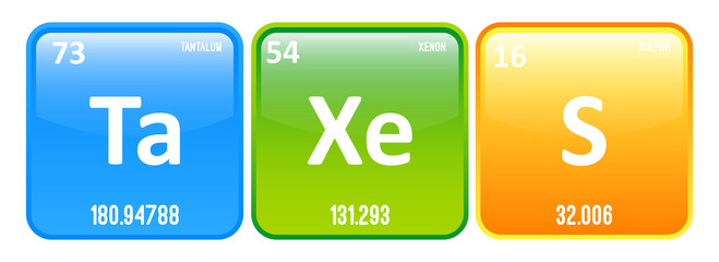 Taxes Word Made Of Chemistry Elements Tantalum, Xenon And Sulfur