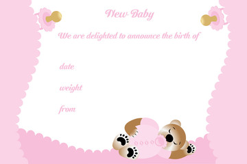 Birthday card for girl with cute bear