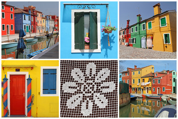 images with fantastic colorful landscape of Burano -collage
