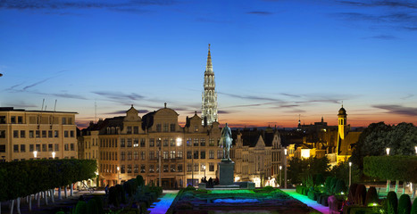 Evening panorama of Brussels