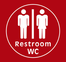 sign restroom women man, red