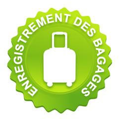 enregistrement des bagages sur bouton web denté vert