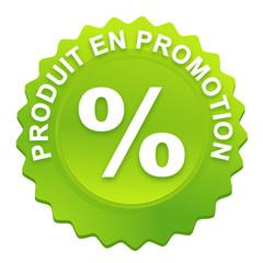 produit en promotion sur bouton web denté vert