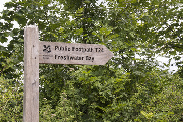Wooden Public Footpath Sign (T24) - Freshwater Bay, Isle of Wigh