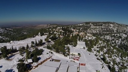 Jerusalem Snowy Mountains  flight view