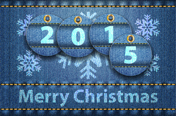 2015 year digits and Merry Christmas greetings on jeans